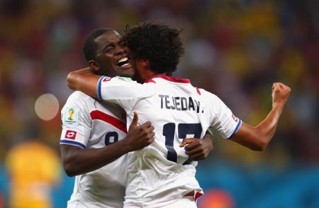 RECIFE, BRAZIL - JUNE 29: Joel Campbell (L) and Yeltsin Tejeda of Costa Rica celebrate after defeating Greece in a penalty shootout during the 2014 FIFA World Cup Brazil Round of 16 match between Costa Rica and Greece at Arena Pernambuco on June 29, 2014 in Recife, Brazil.  (Photo by Paul Gilham/Getty Images)