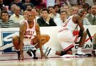 Chicago Bulls Dennis Rodman (91) and Michael Jordon (23) on sidelines during Rodman's first game with the Bulls, Friday, Oct. 13, 1995 against Cleveland Cavaliers in Peoria, Ill.   (AP Photo)