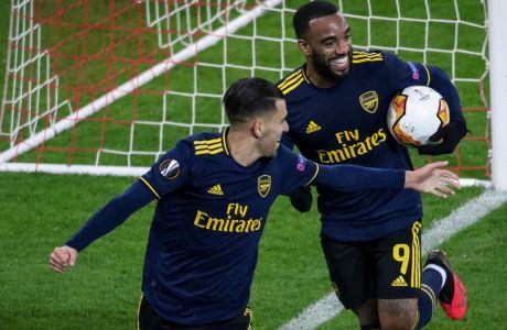 Ο Λακαζέτ μόλις έχει σκοράρει το μοναδικό τέρμα της αναμέτρησης στο Φάληρο, όπου η Άρσεναλ επικράτησε του Ολυμπιακού στην πρώτη μεταξύ τους 'μάχη' για την φάση των 32 του Europa League (20/02/2020) - ΦΩΤΟΓΡΑΦΙΑ: ΤΑΚΗΣ ΣΑΓΙΑΣ / EUROKINISSI