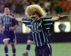Tampa Bay Mutiny midfielder Carlos Valderrama celebrates after picking up an assist on a goal by Jefferson Gottardi during the first half against the Miami Fusion on Saturday night, May 1, 1999, at Raymond James Stadium in Tampa, Fla. This is Valderrama's first game against his former team since being traded back to Tampa Bay. (AP Photo/Chris O'Meara)