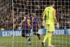 Barcelona forward Lionel Messi, left, celebrates after scoring his side's third goal during the group B Champions League soccer match between FC Barcelona and PSV Eindhoven at the Camp Nou stadium in Barcelona, Spain, Tuesday, Sept. 18, 2018. (AP Photo/Manu Fernandez)