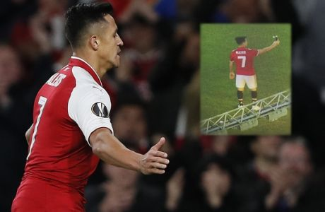 Arsenal's Alexis Sanchez celebrates after scoring during the Europa League group H soccer match between Arsenal and FC Cologne at the Emirates stadium in London, England, Thursday, Sept. 14, 2017 . (AP Photo/Kirsty Wigglesworth)