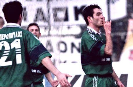 Ο Γιώργος Καραγκούνης του Παναθηναϊκού πανηγυρίζει το γκολ που σημείωσε κόντρα στον ΠΑΟΚ σε αναμέτρηση για την Α' Εθνική 1999-2000 στο γήπεδο της Τούμπας, Σάββατο 20 Φεβρουαρίου 2000