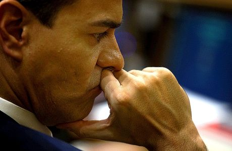 FILE - In this Wednesday, March 2, 2016 file photo Spain's Socialist party leader Pedro Sanchez listens to a lawmaker during the second of a two-day investiture debate at the Spanish parliament in Madrid. (AP Photo/Francisco Seco, File)