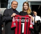 Silvio Berlusconi visita la nuova sede del Milan con in mano la maglia numero 1 accompagnato dalla figlia e Ad rossonero Barbara Berlusconi, Milano, 6 giugno 2014.  ANSA/MOURAD BALTI TOUATI