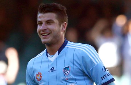 SYDNEY, AUSTRALIA - NOVEMBER 02:  Terry Antonis of Sydney FC celebrates his goal during the round four A-League match between Sydney FC and the Central Coast Mariners at Allianz Stadium on November 2, 2014 in Sydney, Australia.  (Photo by Renee McKay/Getty Images)