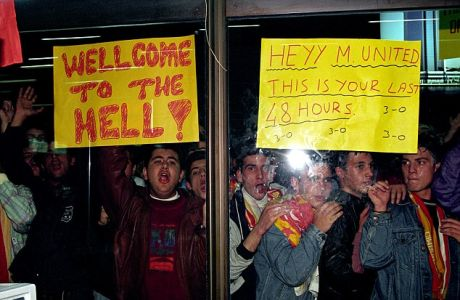 Galatasaray fans welcome Manchester United players and officials to Istanbul at Ataturk Airport