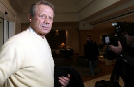 Palermo President Maurizio Zamparini arrives at a Rome Fiumicino airport  hotel for a meeting with soccer league officials, Tuesday, Feb. 6, 2007. Italian Interior Minister Giuliano Amato vowed Tuesday to resist what he said was pressure from soccer clubs and to ensure safety in and outside stadiums, days after a police officer died in rioting at a top match in Sicily. Amato's comments appeared to be a response to soccer league president Antonio Matarrese, whose remarks that soccer should not be halted outraged many. (AP Photo/Gregorio Borgia)