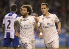 Real Madrid's Lucas Vazquez, right, and Marcelo celebrate after scoring a third goal during a Spanish La Liga soccer match between Deportivo La Coruna and Real Madrid at the Riazor stadium in A Coruna, Spain, Wednesday April 26, 2017. (AP Photo/Lalo R. Villar)
