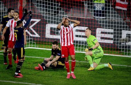 Ο Ρούμπεν Σεμέδο του Ολυμπιακού σε στιγμιότυπο της αναμέτρησης με την Άρσεναλ για τον 1ο αγώνα της φάσης των 32 του Europa League 2019-2020