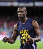 FC Barcelona's Eric Abidal gestures after the Spanish La Liga soccer match against Mallorca at the Camp Nou stadium in Barcelona, Spain, Saturday, April 6, 2013. Abidal played his first match for Barcelona since receiving a liver transplant. Abidal went on in the 70th minute of Saturday's game. (AP Photo/Manu Fernandez)