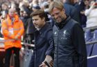 head coach Mauricio Pochettino , left, and Liverpool head coach Juergen Klopp prior to the English Premier League soccer match between Tottenham Hotspur and Liverpool at Wembley Stadium in London, Sunday, Oct. 22, 2017.(AP Photo/Frank Augstein)