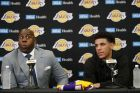 Magic Johnson, left, makes an expression as he talks about Los Angeles Lakers draft pick Lonzo Ball during the NBA basketball team's news conference, Friday, June 23, 2017, in El Segundo, Calif. (AP Photo/Jae C. Hong)