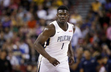 O Zάιον Γουιλίαμσον σε αγώνα του summer league με τη φανέλα των Pelicans ενάντια στους Knicks