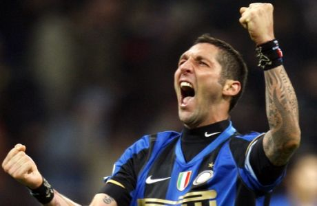 Inter Milan defender Marco Materazzi, reacts at the end of  the Italian Serie A major league soccer match between Inter Milan and Juventus. at the San Siro stadium in Milan, Italy, Saturday, Nov. 22,2008.  (AP Photo/Luca Bruno)