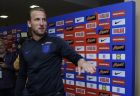 England's Harry Kane reacts after he throws a dart as he takes part in a journalists challenge at the England media centre at the 2018 soccer World Cup, in Repino, near St Petersburg, Russia, Sunday, July 1, 2018. (AP Photo/Alastair Grant)