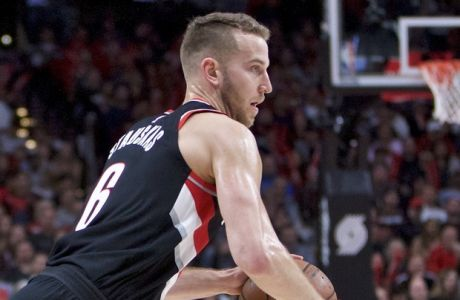 Portland Trail Blazers guard Nik Stauskas during the second half of an NBA basketball game against the Washington Wizards in Portland, Ore., Monday, Oct. 22, 2018. (AP Photo/Craig Mitchelldyer)