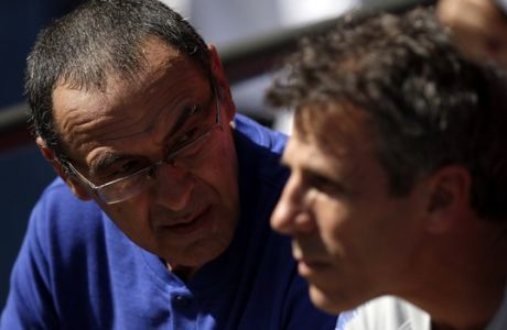 Chelsea's manager Maurizio Sarri looks on during the Community Shield soccer match between Chelsea and Manchester City at Wembley, London, Sunday, Aug. 5, 2018. (AP Photo/Tim Ireland)