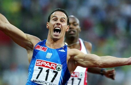 Greek Konstantinos Keteris wins the men's 200m race at the European Athletics Championships in Munich, 09 August 2002. Keteris clocked with new personal best and championship record of 19.85 seconds.