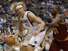 Dallas Mavericks power forward Dirk Nowitzki (41) of Germany looks for an opening against Cleveland Cavaliers forward Jawad Williams (31) in the second half of a preseason NBA basketball game, Monday, Oct. 11, 2010, in Dallas. Nowitzki had a team high 13 points in the 85-79 Mavericks loss. (AP Photo/Tony Gutierrez)