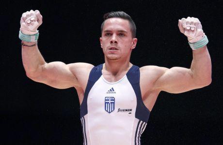 Ο Λευτέρης Πετρούνιας σε στιγμιότυπο του Παγκοσμίου Πρωταθλήματος ενόργανης γυμναστικής 2015, Γλασκώβη, Σάββατο 31 Οκτωβρίου 2015