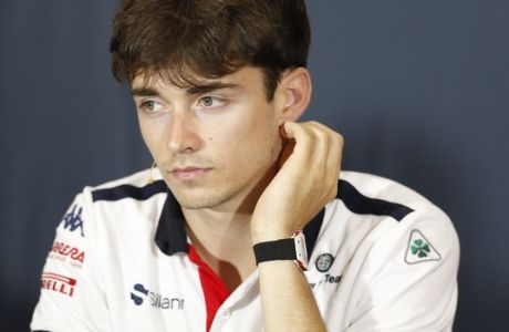 Sauber driver Charles Leclerc of Monaco answers to reporters during a news conference, at the Monaco racetrack, in Monaco, Wednesday, May 23, 2018. The Formula one race will be held on Sunday. (AP Photo/Claude Paris)