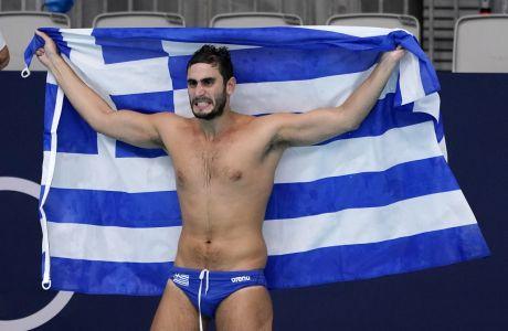 Ο Μάριος Καπότσης της Εθνικής Ελλάδας πανηγυρίζει τη νίκη επί της Ουγγαρίας στα ημιτελικά του τουρνουά πόλο ανδρών των Ολυμπιακών Αγώνων 2020, Τόκιο | Παρασκευή 6 Αυγούστου 2021