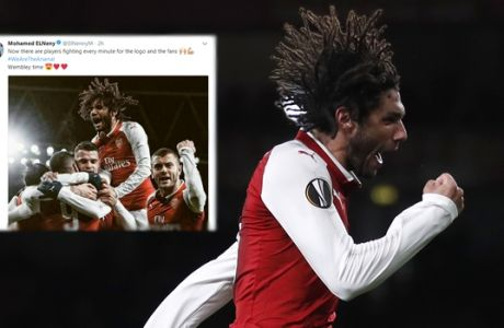 Arsenal's Mohamed Elneny celebrates scoring his sides sixth goal during the Europa League Group H soccer match between Arsenal and BATE Borisov at Emirates stadium in London, Thursday, Dec. 7, 2017. (AP Photo/Kirsty Wigglesworth)