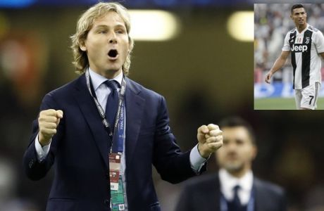 Former Juventus player Pavel Nedved gestures before the Champions League final soccer match between Juventus and Real Madrid at the Millennium stadium in Cardiff, Wales Saturday June 3, 2017. (AP Photo/Frank Augstein)