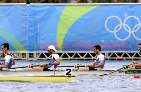 Dionysios Angelopoulos, Ioannis Tsilis, Georgios Tziallas, and Ioannis Christou, of Greece, compete in the men's rowing four heat during the 2016 Summer Olympics in Rio de Janeiro, Brazil, Monday, Aug. 8, 2016. (AP Photo/Luca Bruno)