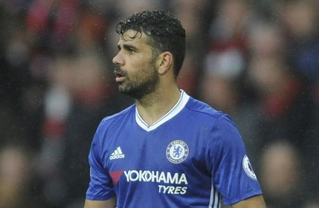 Chelsea's Diego Costa reacts after his team lost the English Premier League soccer match between Manchester United and Chelsea at Old Trafford stadium in Manchester, Sunday, April 16, 2017.(AP Photo/ Rui Vieira)
