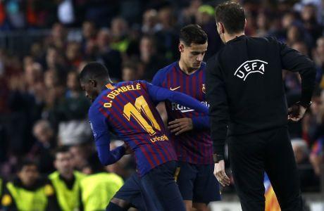 Ο Ντεμπελέ αντικαθιστά τον Κοουτίνιο στον προημιτελικό του Champions League  Μπαρτσελόνα - Μάντσεστερ Γιουνάιτεντ στο 'Camp Nou' της Βαρκελώνης στις 16 Απριλίου 2019. (AP Photo/Joan Monfort)