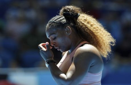 Serena Williams of the United States reacts to a missed point during her match against Maria Sakkari of Greece at the Hopman Cup in Perth, Australia, Monday, Dec. 31, 2018. (AP Photo/Trevor Collens)