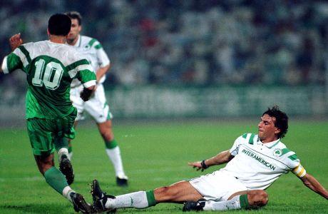 Ο Γιάννης Καλιτζάκης του Παναθηναϊκού σε στιγμιότυπο της αναμέτρησης με την Πιρίν για τον 2ο αγώνα του 1ου γύρου του Κυπέλλου Κυπελλούχων 1994-1995 στο Ολυμπιακό Στάδιο | Πέμπτη 29 Σεπτεμβρίου 1994