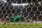 RECIFE, BRAZIL - JUNE 29: Theofanis Gekas of Greece has his penalty kick saved by Keylor Navas of Costa Rica during a shootout in the 2014 FIFA World Cup Brazil Round of 16 match between Costa Rica and Greece at Arena Pernambuco on June 29, 2014 in Recife, Brazil.  (Photo by Quinn Rooney/Getty Images)