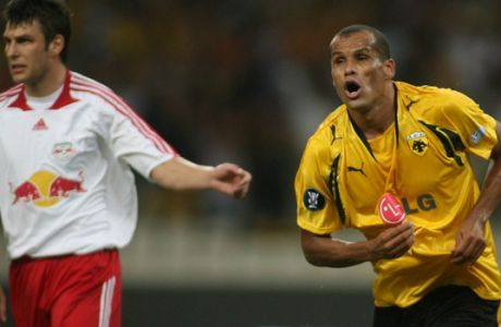 Brazilian AEK Athens' player Rivaldo, right, celebrates after scoring the second goal of his team against Red Bull Salzburg during their first round UEFA Cup tournament soccer match at the Olympic stadium, Athens, Thursday, Sept. 20, 2007. (AP Photo/Thanassis Stavrakis)