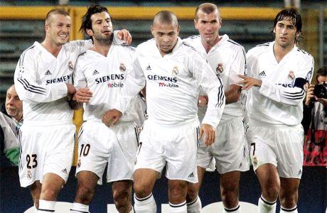 Μπέκαμ, Φίγκο, Ρονάλντο, Ζιντάν, Ραούλ. Οι galácticos της Ρεάλ Μαδρίτης σε πλήρη παράταξη (2004).