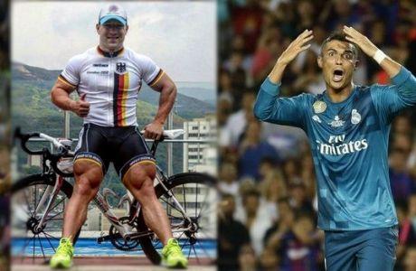 """""""Καλαμάκια"""" τα πόδια του Κριστιάνο μπροστά σε αυτού του ποδηλάτη!"""