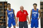 Steve Ballmer owner of the Los Angeles Clippers Rivers, middle, poses for a photo with Canadian player Shai Gilgeous-Alexander, left, and Jerome Robinson, right after they were introduced as the newest Clippers guards at the L.A. Clippers Training Center in Los Angeles Monday, June 25, 2018. (AP Photo/Damian Dovarganes)
