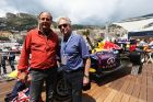 MONTE-CARLO, MONACO - MAY 25:  Former F1 driver Gerhard Berger and actor and director Michael Douglas as seen on the Red Bull Energy Station during qualifying for the Monaco Formula One Grand Prix at the Circuit de Monaco on May 25, 2013 in Monte-Carlo, Monaco.  (Photo by Andrew Hone/Getty Images) *** Local Caption *** Gerhard Berger; Michael Douglas