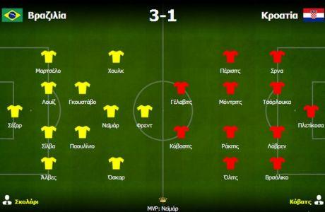 Βραζιλία-Κροατία: 3-1: Λάμψη αστεριών και επιθετικού transition