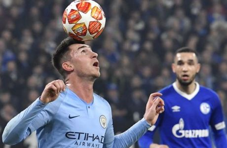 Manchester City defender Aymeric Laporte controls the ball during the first leg, round of sixteen, Champions League soccer match between Schalke 04 and Manchester City at Veltins Arena in Gelsenkirchen, Germany, Wednesday Feb. 20, 2019. (AP Photo/Martin Meissner)