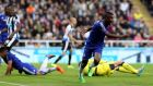 Chelsea's Ramires, center, celebrates his goal during the English Premier League soccer match between Newcastle United and Chelsea at St James' Park, Newcastle, England, Saturday, Sept. 26, 2015. (AP Photo/Scott Heppell)
