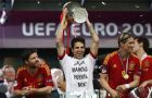 Spain's Cesc Fabregas holds the trophy at the end of the the Euro 2012 soccer championship final  between Spain and Italy in Kiev, Ukraine, Sunday, July 1, 2012. Spain won 4-0. (AP Photo/Jon Super)