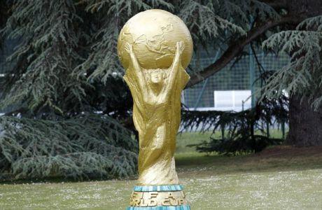 A sculpture of the Word Cup trophy is pictured at the Clairefontaine training center, outside Paris, Wednesday, May 23, 2018. (AP Photo/Christophe Ena)