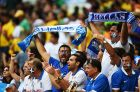 FORTALEZA, BRAZIL - JUNE 24:  Greece fans cheer during the 2014 FIFA World Cup Brazil Group C match between Greece and the Ivory Coast at Castelao on June 24, 2014 in Fortaleza, Brazil.  (Photo by Jamie McDonald/Getty Images)