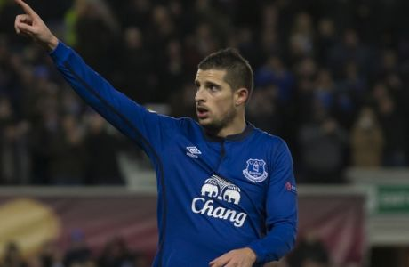 Everton's Kevin Mirallas celebrates after scoring during the Europa League round of 32 second leg soccer match between Everton and BSC Young Boys at Goodison Park Stadium, Liverpool, England, Thursday, Feb. 26, 2015. (AP Photo/Jon Super)