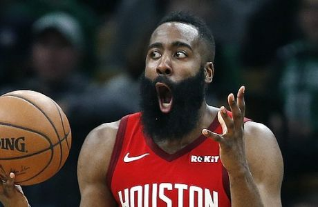 Houston Rockets' James Harden reacts after being called for a foul during the second half of an NBA basketball game against the Boston Celtics in Boston, Sunday, March 3, 2019. (AP Photo/Michael Dwyer)