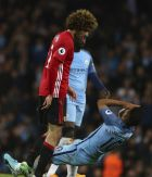 Manchester City's Sergio Aguero clashed with Manchester United's Marouane Fellaini, left, during the English Premier League soccer match between Manchester City and Manchester United at the Etihad Stadium in Manchester, England,Thursday, April 27, 2017.(AP Photo/Dave Thompson)