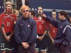Alexi Lalas, left, and Marcelo Balboa of the United States World Cup soccer team react to cardboard cutouts of themselves at a sports complex in Paris, France, Tuesday, June 16, 1998. In its opening match of the World Cup Monday night in Paris, the U.S. lost to Germany 2-0. The teams are in Group F with Yugoslavia and Iran. (AP Photo/Mark Lennihan)